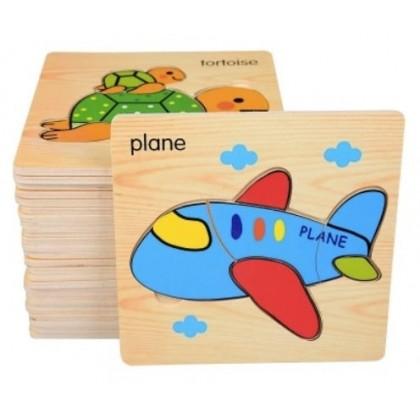 JOM KELLY 8PCS Cartoon Animal Wooden Block Puzzle Educational Toy