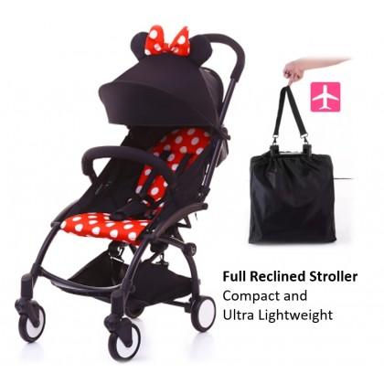 JOM KELLY Baby Grace Full Recline Baby Stroller Mickey Minnie