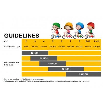 "JOM KELLY 16"" Kid Bicycle Children Bike W/ Backseat & Training Wheel 5-7Yrs Old"