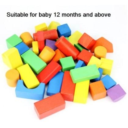 JOM KELLY 40 pcs Wood Blocks with Bucket Educational Learning Toys