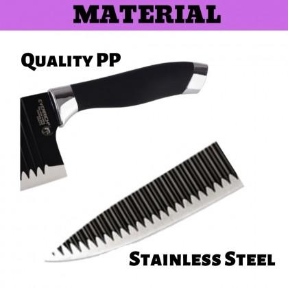 JOM KELLY Everrich Non-Stick Coating 7pcs Knive Set Cleaver Knife Sharpener Kitchen Tools