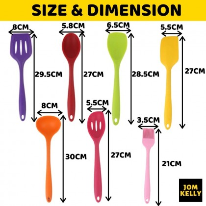JOM KELLY 11pcs Rainbow Non-Stick Silicone Cookware Cooking Tools Kitchen Utensils With Storage Bucket Set