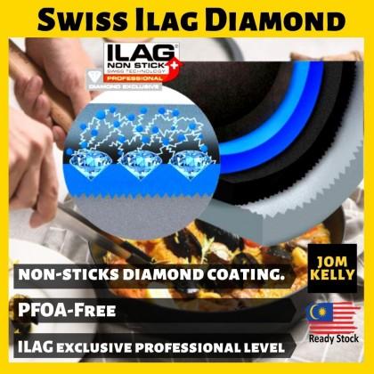JOM KELLY Taste Plus (26cm/3.3L) MOTOKI Swiss ILAG Diamond Coating Nonstick Pan Cooking Skillet Grill Pan [Free Wood Spatula]